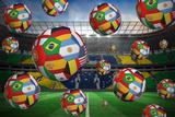 Footballs in International Flags against Large Football Stadium with Brasilian Fans