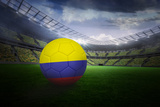 Football in Colombia Colours in Large Football Stadium with Lights