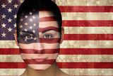 Composite Image of Beautiful England Football Fan in Face Paint against Usa Flag in Grunge Effect