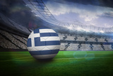 Football in Greece Colours in Large Football Stadium with Lights