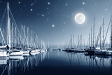 Beautiful Landscape of Yacht Harbor at Night  Full Moon  Marina in Bright Moonlight  Luxury Water T