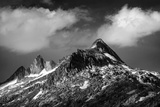 Black and White Photo of Majestic Mountainous Landscape  Dramatic Cloudy Sky  Beautiful Panorama  E