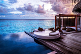 Luxury Beach Resort  Bungalow near Endless Pool over Sea Sunset  Evening on Tropical Island  Summer