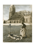 A Woman Grieves at the Grave Site of Her Son  Killed in World War I
