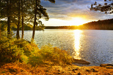 Sunset over Lake of Two Rivers in Algonquin Park  Ontario  Canada