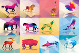 Collection of Geometric Polygon Animals, Patter Design, Vector Illustration Giclée premium par BlueLela