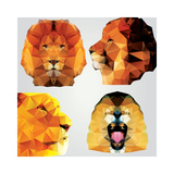 Collection of 4 Geometric Polygon Lions, Pattern Design, Vector Illustration Giclée premium par BlueLela