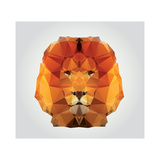 Geometric Polygon Lion Head, Triangle Pattern, Vector Illustration Giclée premium par BlueLela