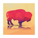 Geometric Polygonal Buffalo, Pattern Design, Vector Illustration Giclée premium par BlueLela