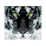 Geometric Polygon White Tiger Head  Triangle Pattern Design  Vector Illustration