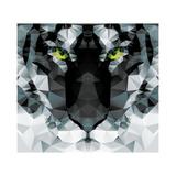 Geometric Polygon White Tiger Head, Triangle Pattern Design, Vector Illustration Reproduction d'art par BlueLela