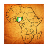 Nigeria on Actual Map of Africa Reproduction d'art par Michal812