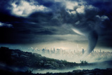 Digitally Generated Stormy Sky with Tornado over Cityscape