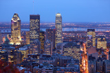 Montreal Skyline by Night Dusk Cityscape Image of Montreal Downtown  Quebec  Canada