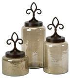 Fleur De Lis Lidded Jars - Set of 3