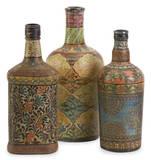 Vintage Hand Painted Bottles Set