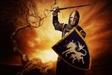 Medieval Knight over Stormy Sky