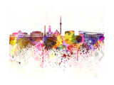 Stuttgart Skyline in Watercolor Background