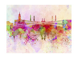 Mecca Skyline in Watercolor Background