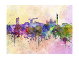 Glasgow Skyline in Watercolor Background