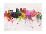 Birmingham Al Skyline in Watercolor Background Reproduction d'art par Paulrommer