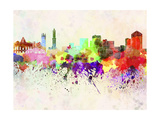 Genoa Skyline in Watercolor Background Reproduction d'art par Paulrommer