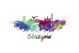 Glasgow Skyline in Watercolor Reproduction d'art par Paulrommer