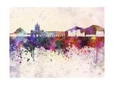 Naples Skyline in Watercolor Background Reproduction d'art par Paulrommer
