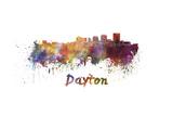 Dayton Skyline in Watercolor Reproduction d'art par Paulrommer