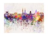 Belfast Skyline in Watercolor Background Reproduction d'art par Paulrommer