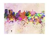 Philadelphia Skyline in Watercolor Background Reproduction d'art par Paulrommer