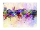 Prague Skyline in Watercolor Background Reproduction d'art par Paulrommer