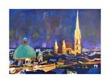 Vienna Skyline with St Stephan at Night