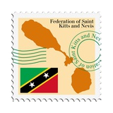 Stamp with Map and Flag of Saint Kitts and Nevis Reproduction d'art par Perysty