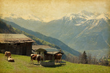 Small Farm in Swiss Alps  Bodmen  Valais  Switzerland Added Paper Texture