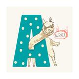 Letter A Alpaca Reproduction d'art par Adikatz
