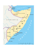 Somalia Political Map Reproduction d'art par Peter Hermes Furian