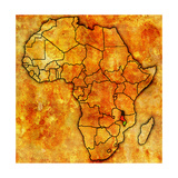 Malawi on Actual Map of Africa Reproduction d'art par Michal812
