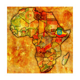 Ethiopia on Actual Map of Africa Reproduction d'art par Michal812
