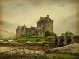 Eilean Donan Castle on a Cloudy Day Low Tide Scotland  Uk Photo in Retro Style Paper Texture