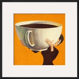 Woman Holding a Huge Cup of Coffee