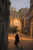 Woman Walking in Old Town  Dusk  San'a  Yemen  Middle East
