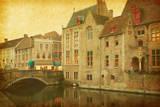 Bruges Historic Centre  Belgium Photo in Retro Style Paper Texture