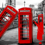 Art Print Series - Red Telephone Booths - London - UK - England - United Kingdom - Europe
