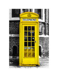 Red Phone Booth in London painted Yellow - City of London - UK - England - United Kingdom - Europe