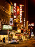 The Booth Theatre at Broadway - Urban Street Scene by Night with a NYPD Police Car - Manhattan