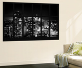 Wall Mural - Window View - Manhattan B&W at Night with the One World Trade Center - New York