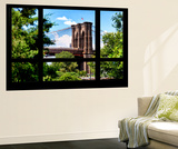 Wall Mural - Window View - The Brooklyn Bridge - Manhattan - New York