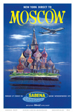 New York Direct to  Moscow  Russia  Sabena Belgian World Airlines