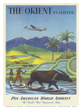 The Orient by Clipper  Boeing Stratocruiser flies over Asian Rice Paddy  Pan American World Airways